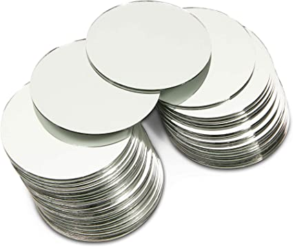 Craft Round Mirror Tiles for Crafts Decorations 4 Inch 50 Pack