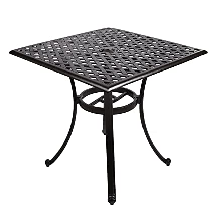 Genial Cast Aluminum Square Table, 30 Inch Outdoor Patio Furniture Coffee Table  With Umbrella Opening