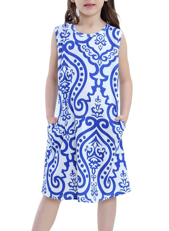 STKAT Girl's Casual Crew Neck Summer Sleeveless Damask Print Pockets Loose Tunic T-Shirt Dress