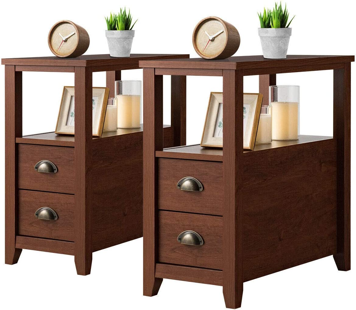 Giantex End Table W 2 Drawers and Shelf Space-Saving Rectangular Bedside Table