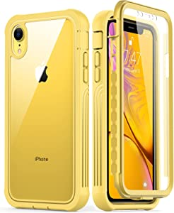 GOODON iPhone XR Case with Built-in Screen Protector,Pass 20 ft. Drop Test Military Grade Shockproof Clear Cover 360 Full Body Protective Phone Case for Apple iPhone XR Yellow