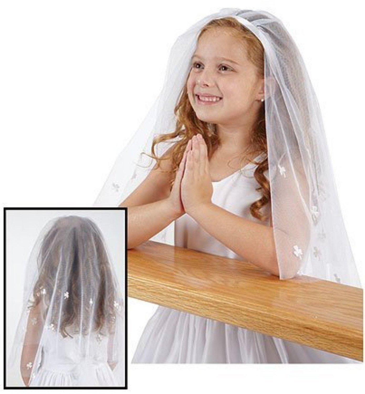 Dreamdress Girls Veils Beads Wedding Communion Headpiece Child Veils Hair (White)