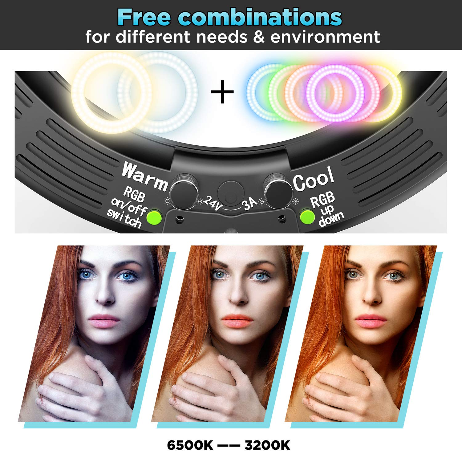 "Gimars Newest 2 in 1 Easy Operation 14/"" Dimmable 3200//5500K//RGB LED Ring Light with Lighting Tripod"