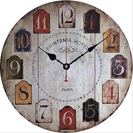 FUSHENG Reloj De Pared, Reloj De Pared Del País, Reloj De Pared Silencioso,