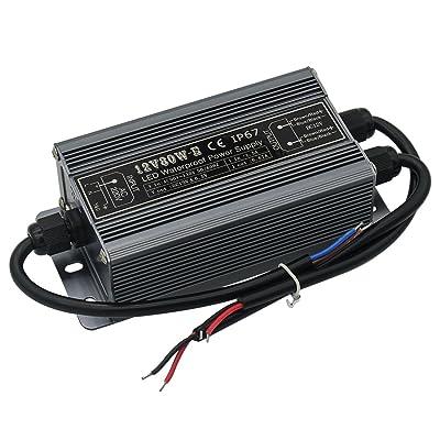 80 Watt Waterproof IP67 LED Power Supply Driver Transformer 110V AC 60Hz to 12V DC Low Voltage Output for Low Voltage Landscape Lighting Spotlight Outdoor