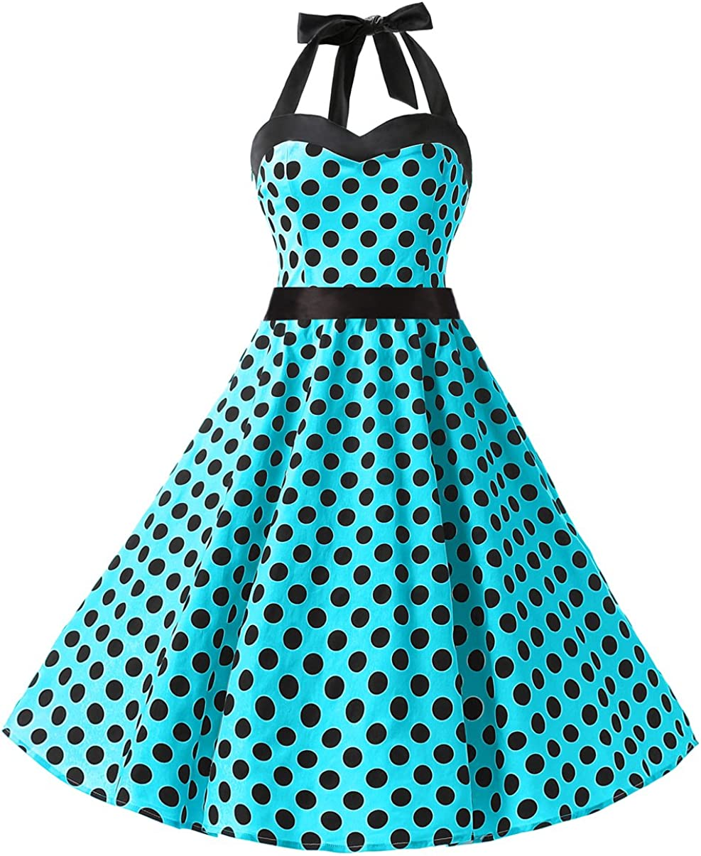 TALLA L. DRESSTELLS® Halter 50s Rockabilly Polka Dots Audrey Dress Retro Cocktail Dress Blue Black Dot