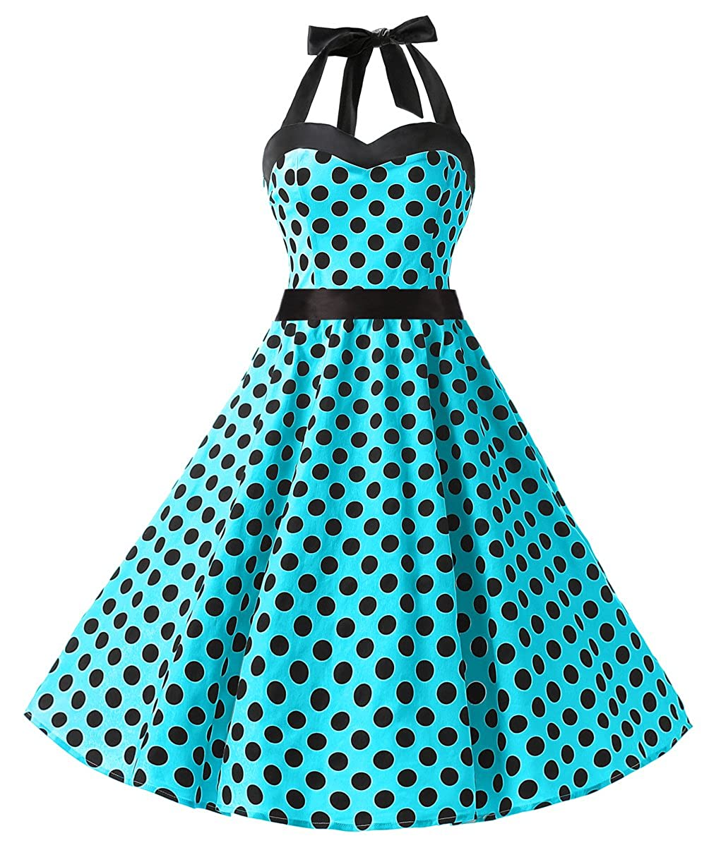 TALLA L. Dresstells® Halter 50s Rockabilly Polka Dots Audrey Dress Retro Cocktail Dress Blue Black Dot L