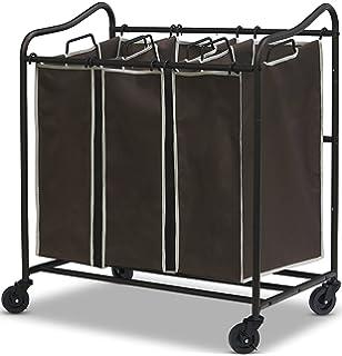 3 bag laundry sorter. SimpleHouseware HeavyDuty 3Bag Laundry Sorter Cart All Bronze 3 Bag
