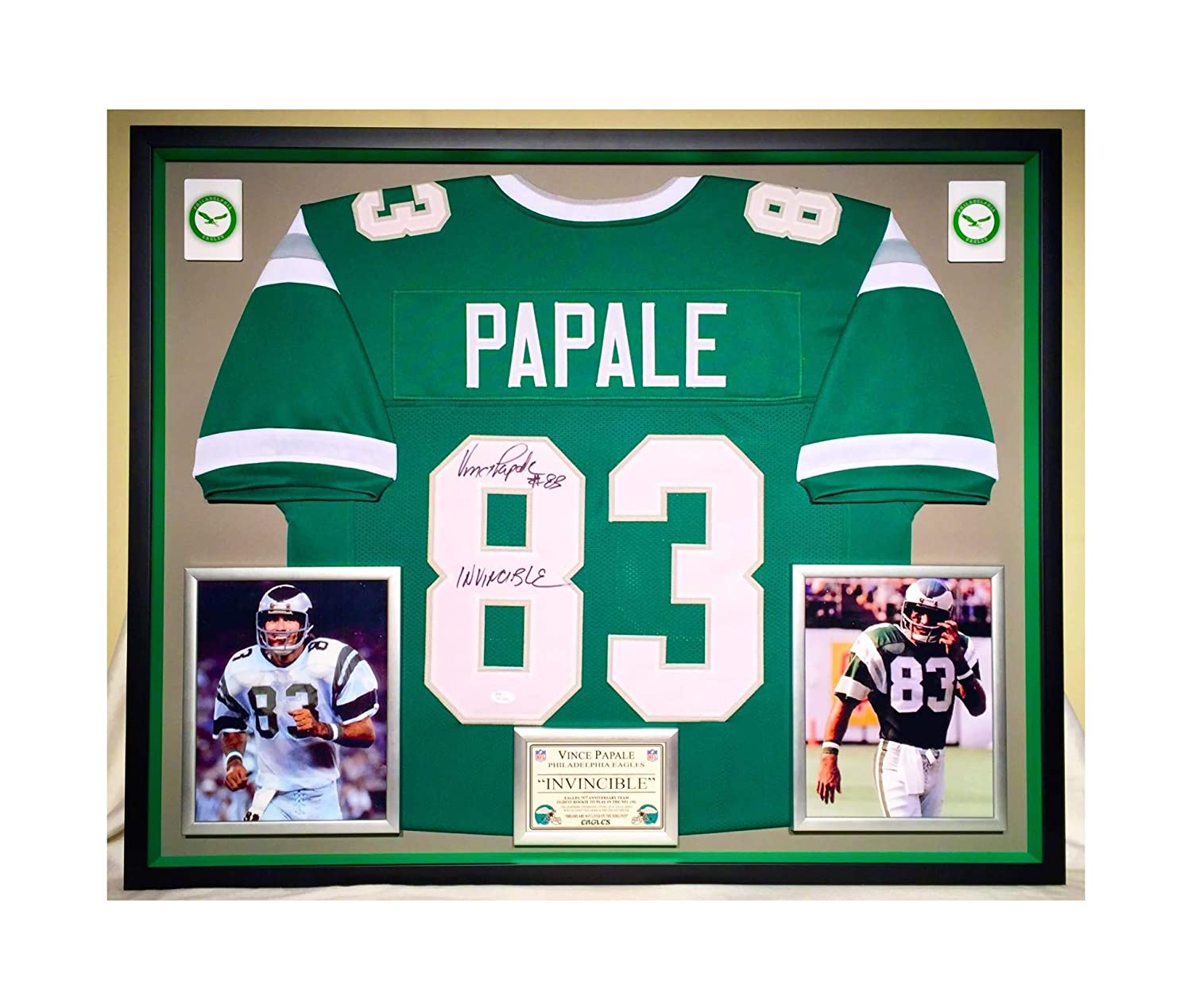87256b50572 Premium Framed Vince Papale Autographed/Signed Philadelphia Eagles Jersey -  JSA COA at Amazon's Sports Collectibles Store