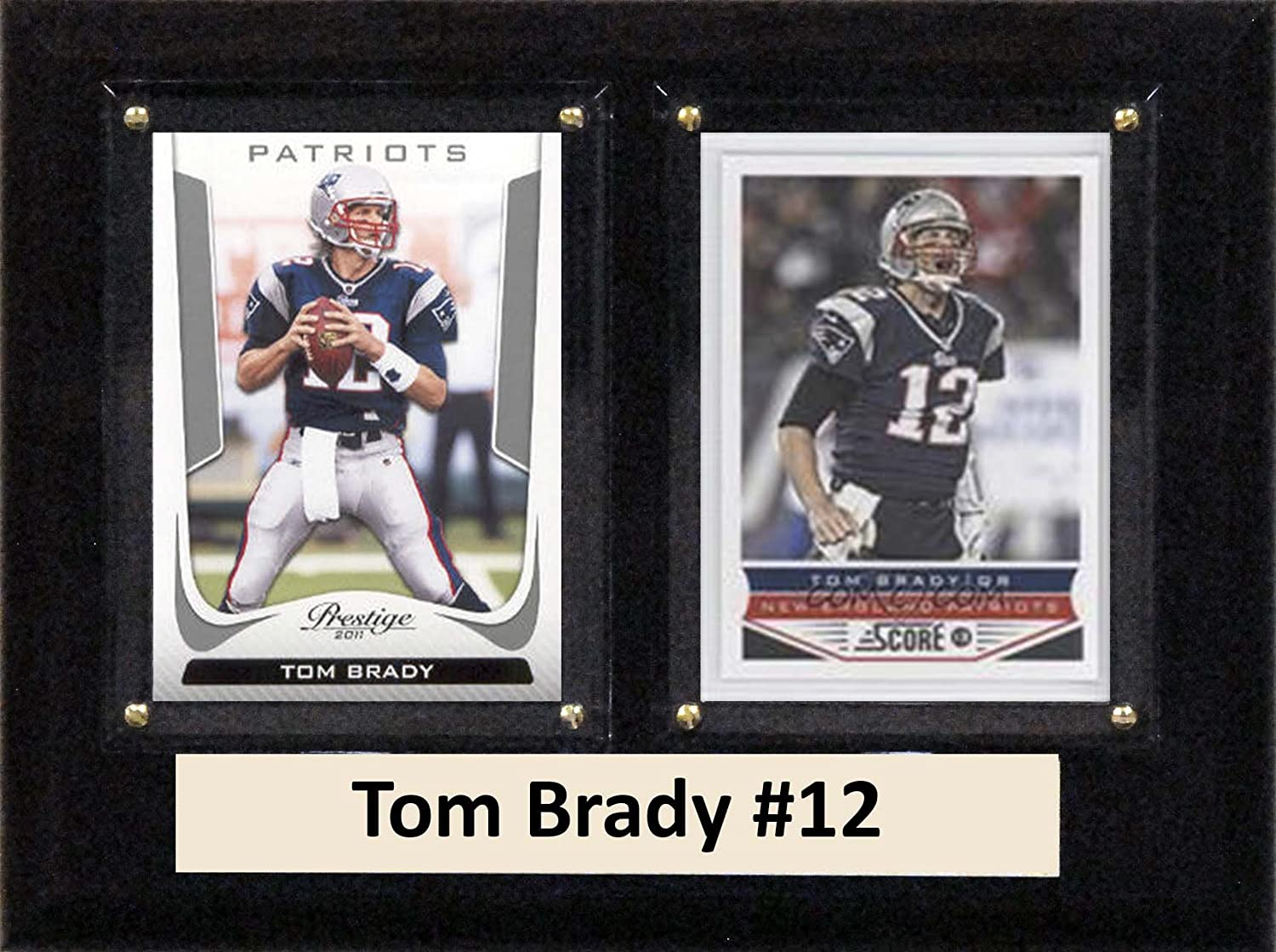 "C&I Collectables NFL New England Patriots Tom Brady Two Card Plaque, 6"" x 8"", Brown"