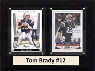 """product image for C&I Collectables NFL New England Patriots Tom Brady Two Card Plaque, 6"""" x 8"""", Brown"""