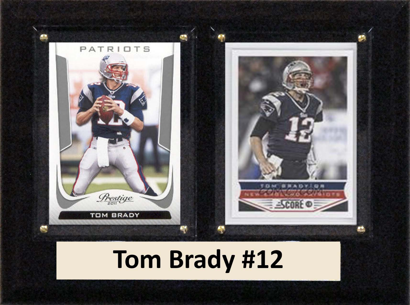 C&I Collectables NFL New England Patriots Tom Brady Two Card Plaque, 6'' x 8'', Brown by C&I Collectables