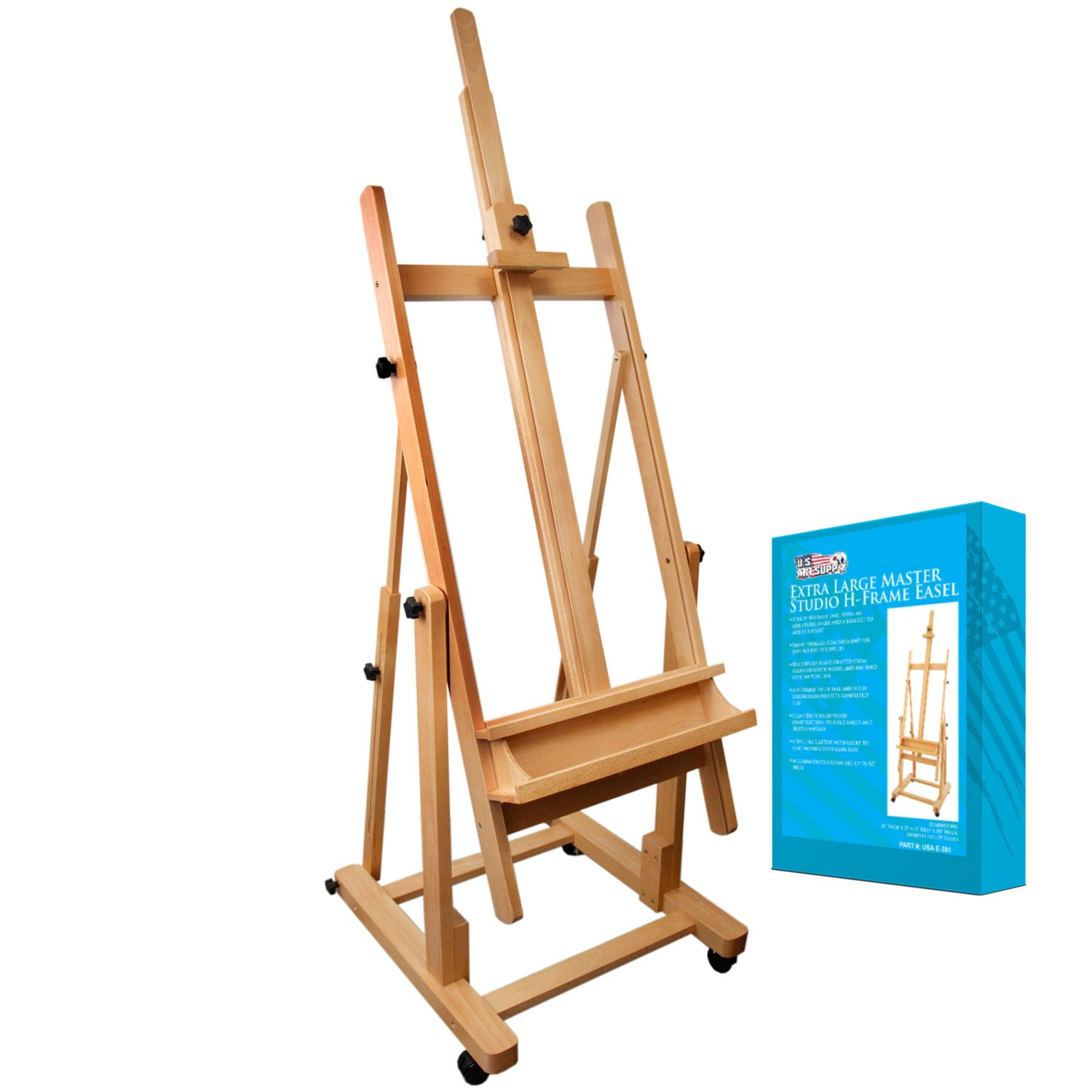 US Art Supply Malibu Extra Large H-Frame Deluxe Adjustable Wood Studio Easel with Tilt and Caster Wheels by US Art Supply