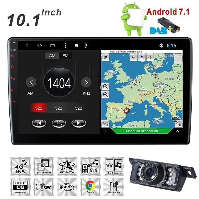 Car Stereo, 10,1 Pulgadas Android 7.1 2 GB RAM, Radio de Coche GPS Unidad de navegación Frontal, soporte/Bluetooth/4G WiFi/USB/Mirror Link/SWC: Amazon.es: ...