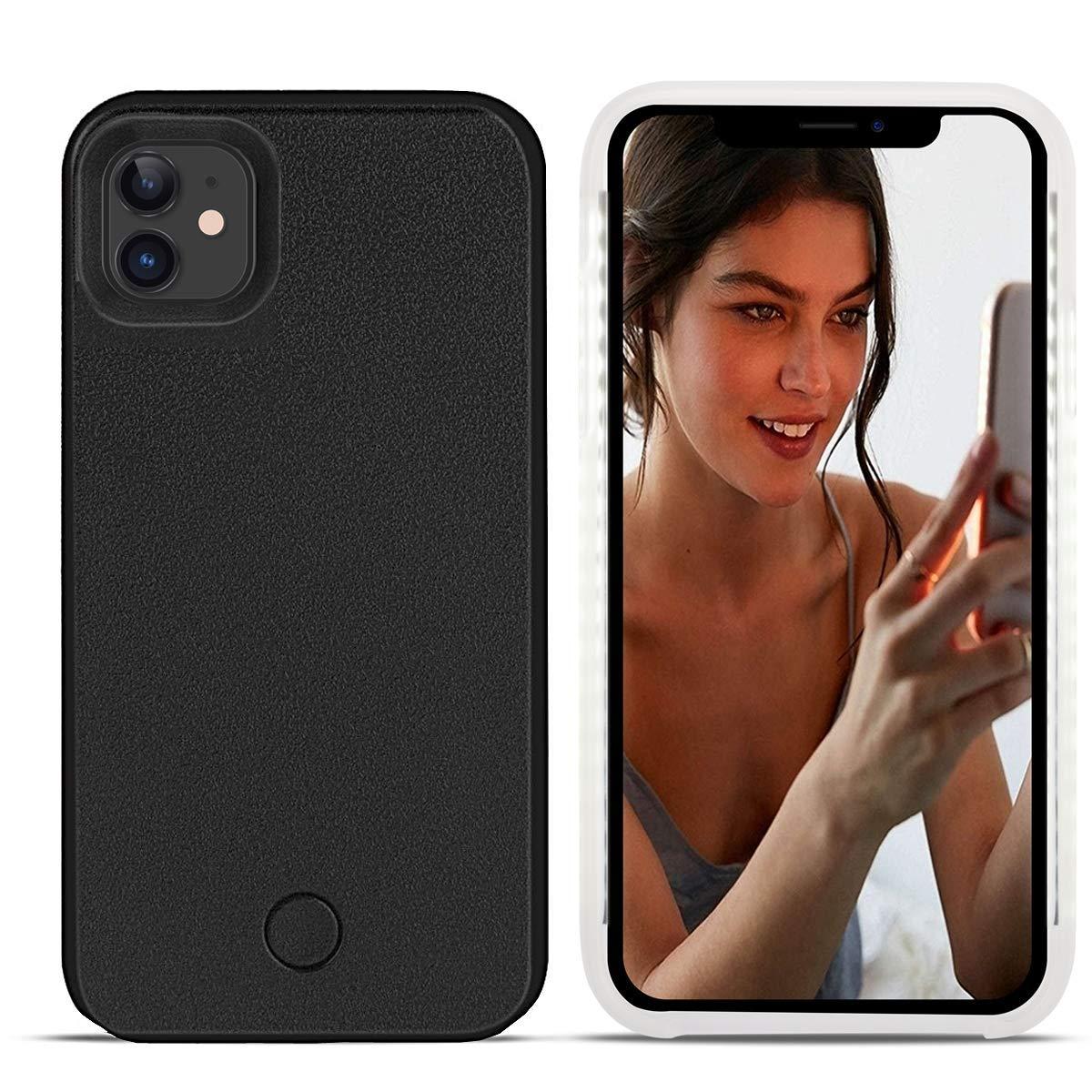 Avkkey iPhone 11 Pro MAX LED Caso iPhone 11 Pro MAX Selfie luz iPhone Caso Ideal para un Brillante Selfie y FaceTime Iluminado luz Up Carcasa para iPhone 11 Pro MAX 6.5 Inch Oro Rosa