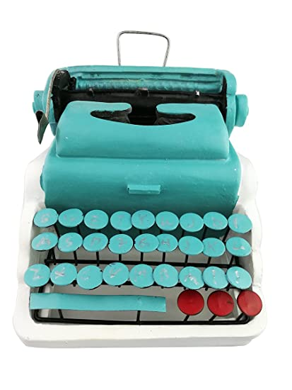 Winterworm Creative Vintage Resin Metal Green Old-fashioned Typewriter Model Display Decoration Home Bar Retro
