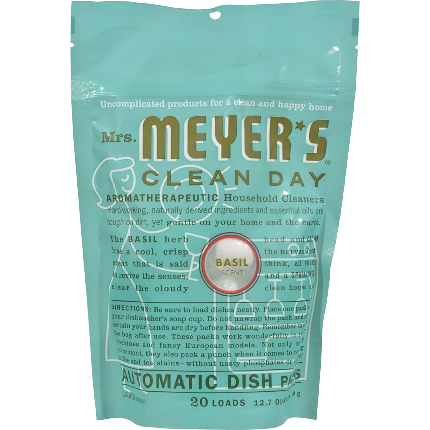 Mrs. Meyers Clean Day Automatic Dish Contains Packs 20 Loads with Basil Scent, 12.7 Oz, 12.7 Ounce