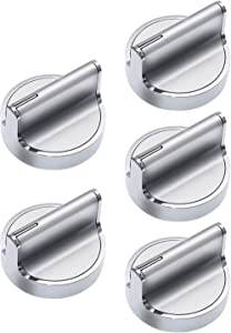 YEECHUN Upgraded W10594481 5pcs Stainless Steel Cooker Stove Control Knob Replacement for Whirlpool Stove/Range Replaces WPW10594481, AP6023301, 3281332, W10594481, W10698166, PS1175