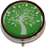 Tree of Life Round Silver Three Compartment Pocket/Purse/Travel Pill Box Case