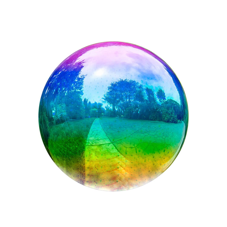 Topadorn 10 inch Glass Gazing Ball Polished Metallic Green/Purple Gazing Ball