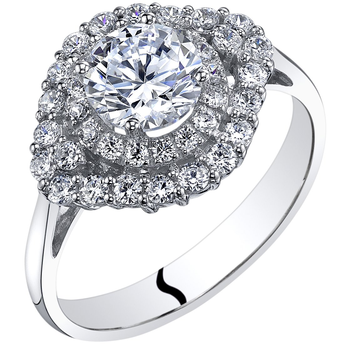 14k White Gold Cubic Zirconia Engagement Ring 1.00 Carat Center Cluster Style Size 8