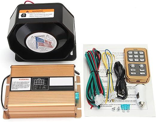 Tutoy 400W 8 Sonido Fuerte Advertencia Alarma Policía Sirena Bocina Altavoz Mic Sistema: Amazon.es: Hogar