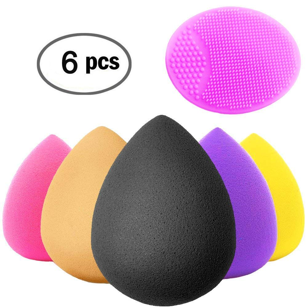 Crafteeze 6 Piece Beauty Makeup Blender Sponge Set - Powder, BB Cream, Concealer, Blush, Primer and Foundation - Cosmetic Blending and Contour Applicator with Face Exfoliating Pad - Latex Free