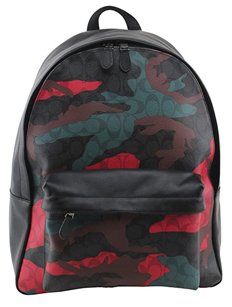 0fe598c32 Coach Charles Backpack In Signature Animated Camo Print Coated Canvas,  Style F59914, Charcoal Red