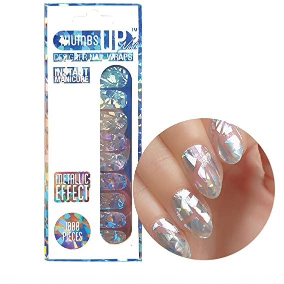 1000 Pieces Shattered Glass Nail Wraps 20 Wraps / Pack by ThumbsUp ...