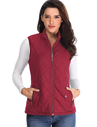 81350d31f739f MISS MOLY Ladies Puffer Coat Women Lightweight Pocket Gilet Wadded  Waistcoat Vest Quilted Sleeveless Wine Red