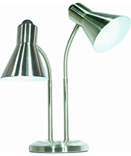 Merveilleux Satco Products 60/806 Twin Goose Neck Desk Lamp, Brushed Nickel