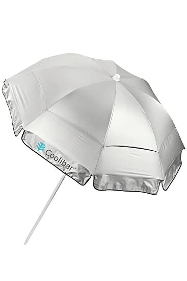 Coolibar UPF 50+ 6' Titanium Beach Umbrella - Sun Protective (One Size- Silver)
