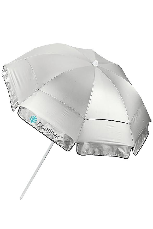 Coolibar UPF 50 + 6 de titanio playa paraguas con sacacorchos Pole - sol protectora: Amazon.es: Jardín
