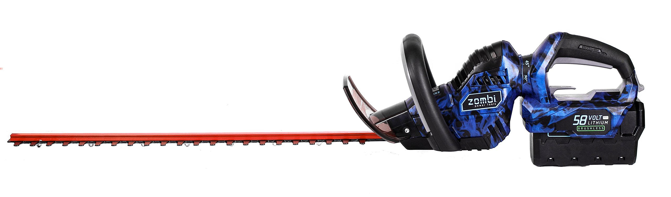 Zombi ZHT5817 24-Inch 58 Volt 2Ah Lithium Cordless Electric Hedge Trimmer, Battery & Charger Included