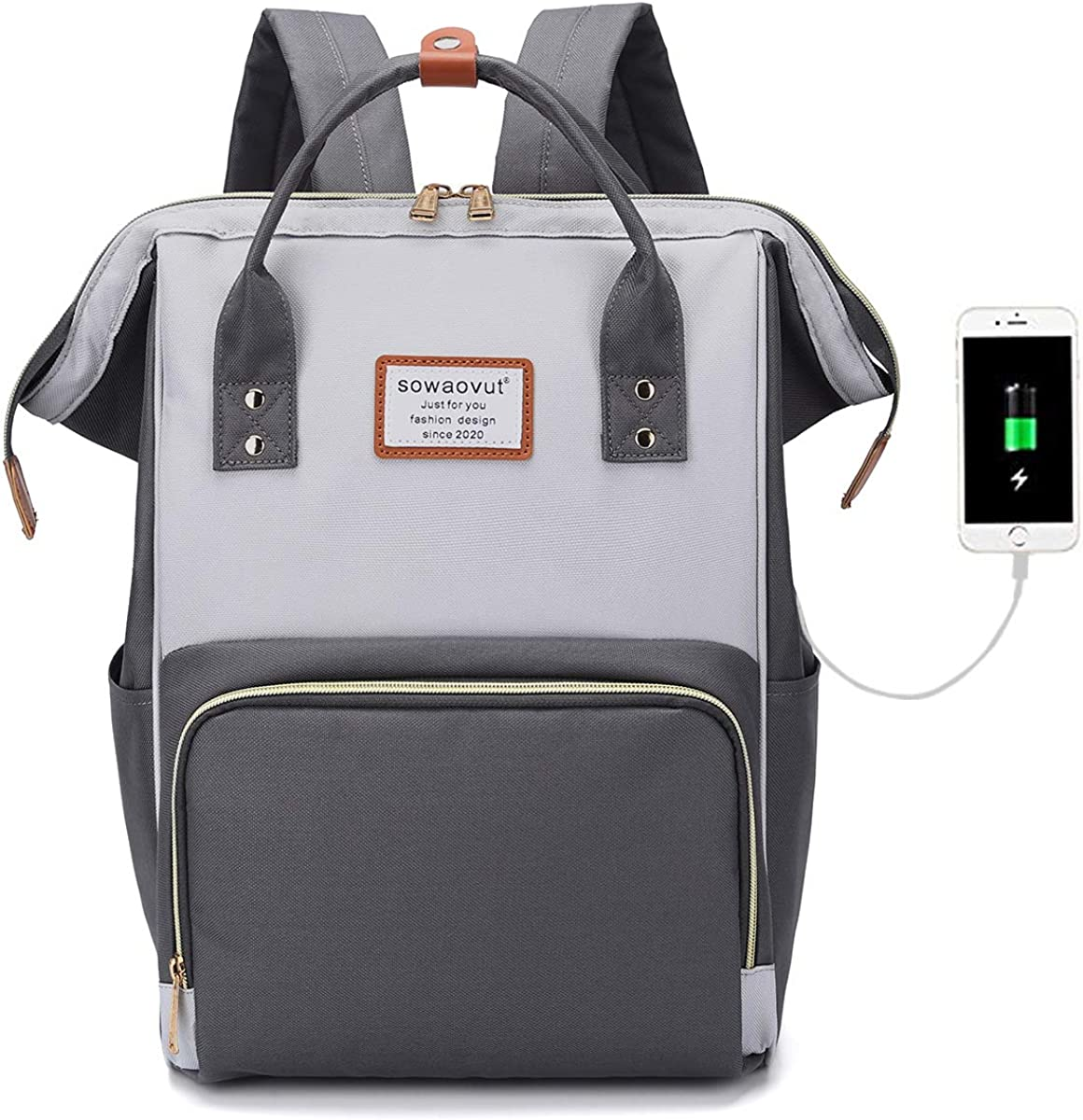 SOWAOVUT Laptop Backpack 15.6 Inch Casual Daypack Water Resistant Business Travel School Backpack for Women Men Student