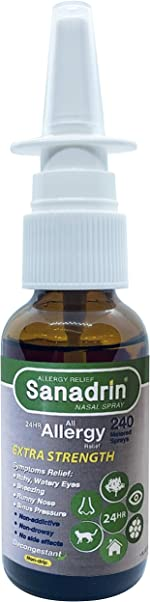 Sanadrin Extra Strength - 24hr Allergy Medicine, Sneezing, Itchy, Watery Eyes,