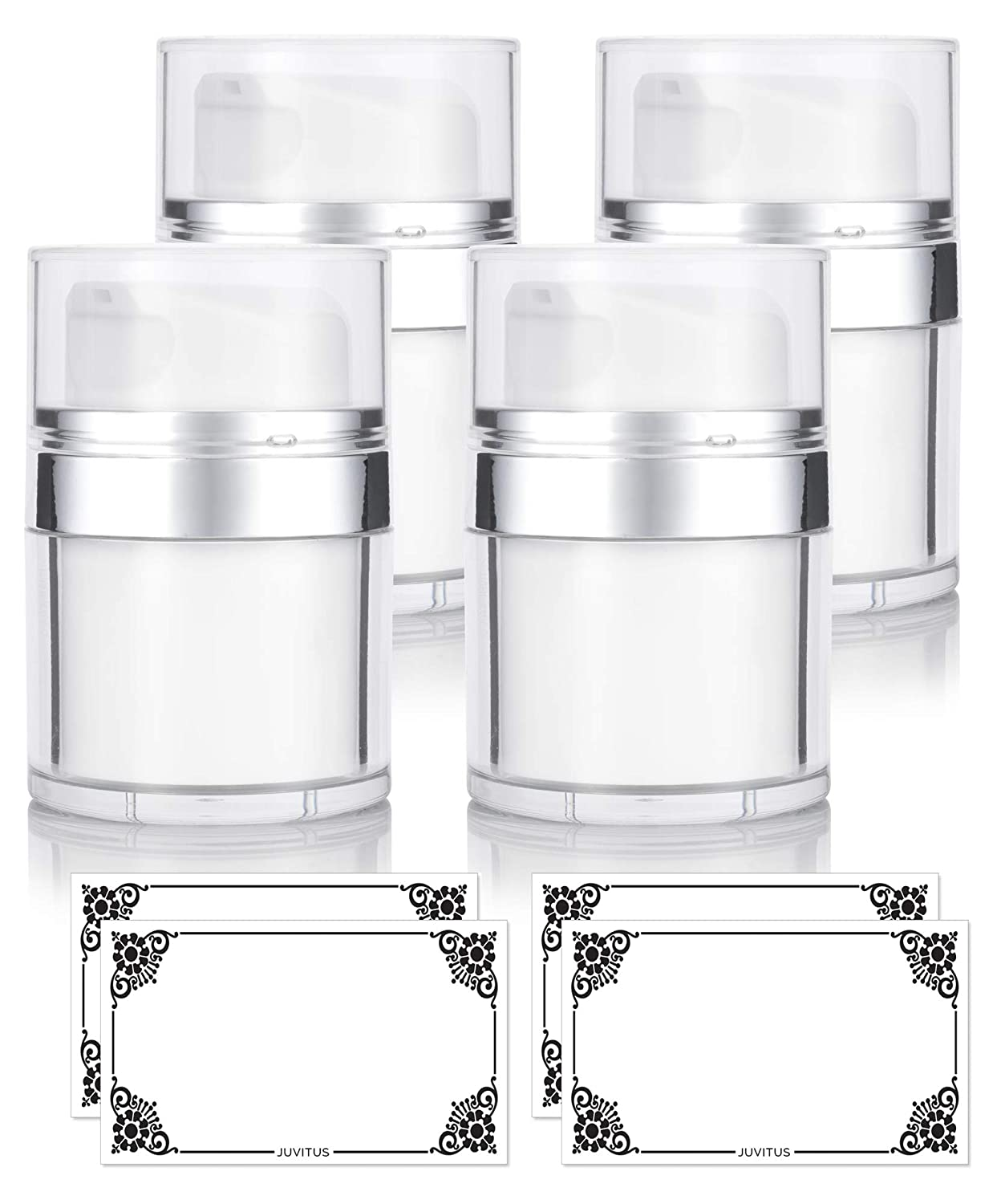NEW Airless Pump Refillable Jar 1 oz / 30 ml (4 pack) keeps out bacteria and air changing oxidation from your skin care products - durable, leak proof, and shatterproof for home or travel