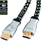 4K HDMI cable 12ft-HDMI 2.0 cord supports 1080p, 3D, 2160p, 4K UHD, HDR, Ethernet and Audio Return-CL3 for in-wall installation -28AWG braided for HDTV, Xbox, Blue-ray player, PS3, PS4, PC, Apple TV