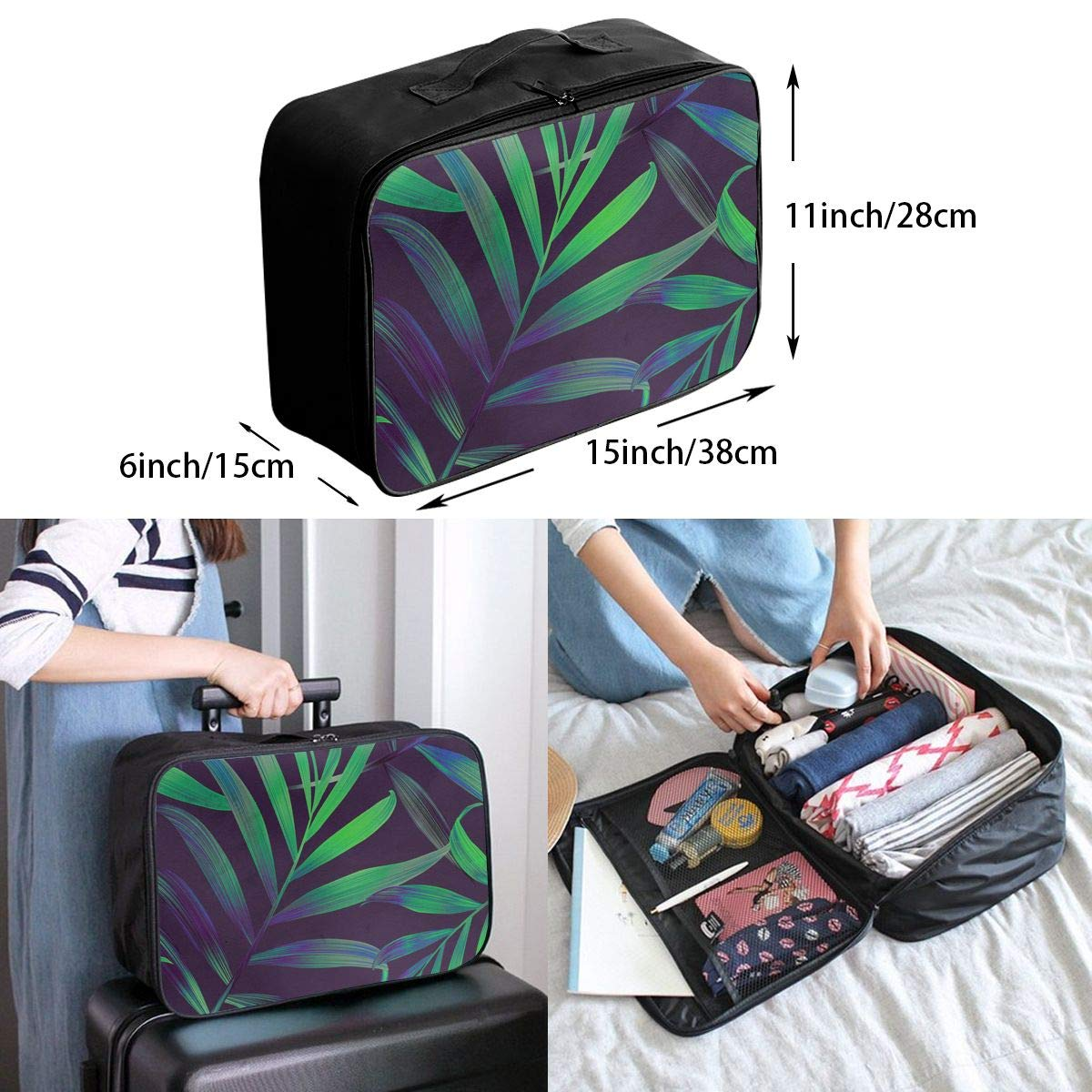 Travel Luggage Duffle Bag Lightweight Portable Handbag Leaf Nature Large Capacity Waterproof Foldable Storage Tote