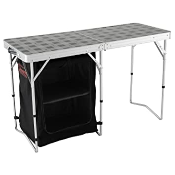 Coleman Folding 2 In 1 Camping Table And Storage Grey Black 122 X
