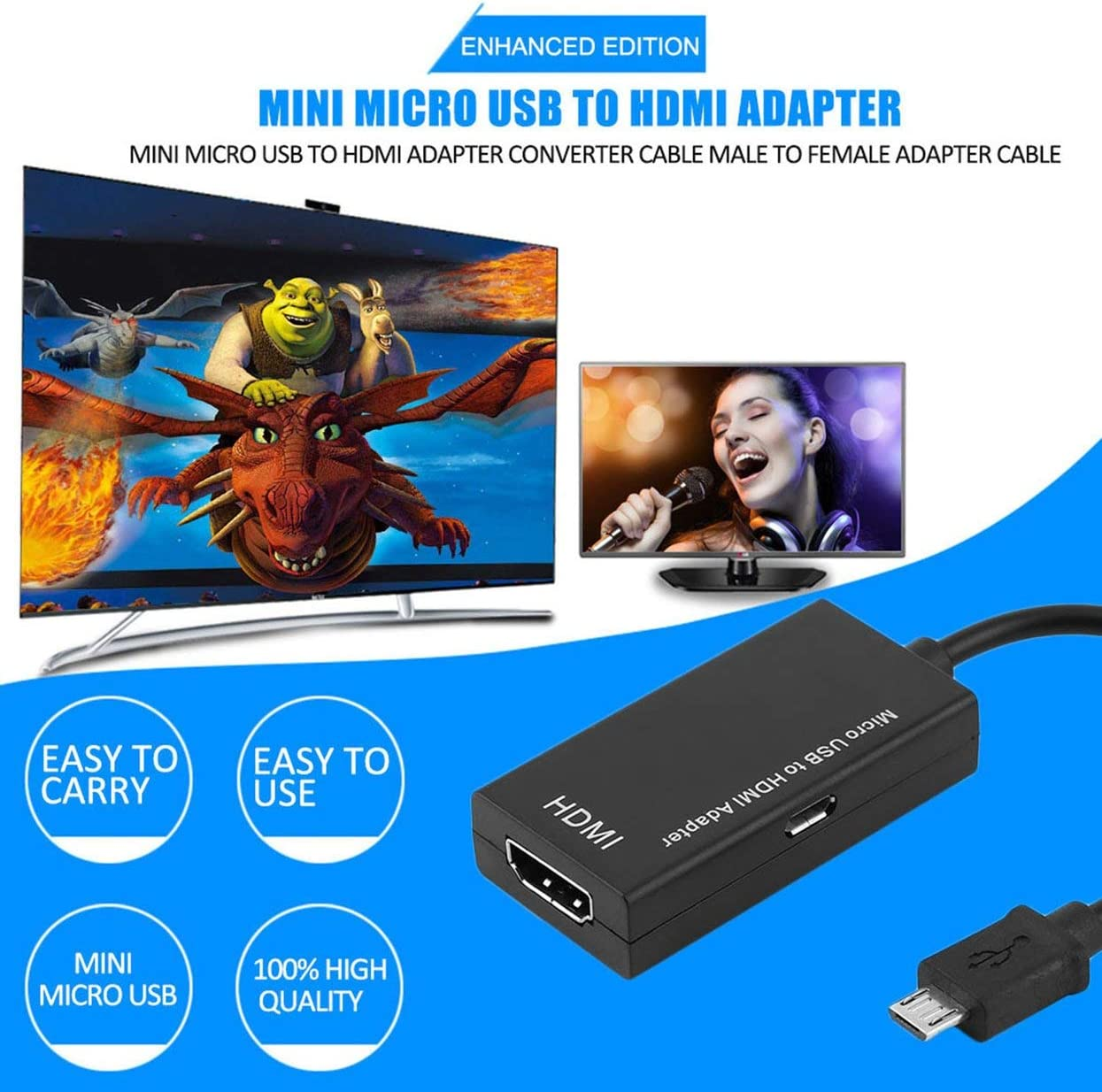 Detectorcatty Mini Micro USB to HDMI Adapter Converter Cable Portable Micro USB Male to Female HDMI Adapter Cable Black