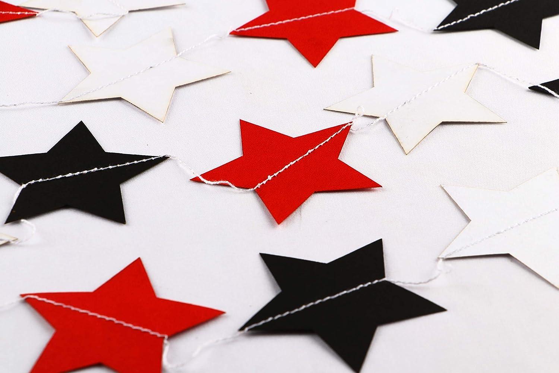 blanches et noires 3 m Guirlande en papier avec /étoiles rouges
