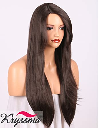 94cd41f8bd K'ryssma Natural Looking Brown Wig with Bangs Deep Side Parting Long  Straight Synthetic Wigs