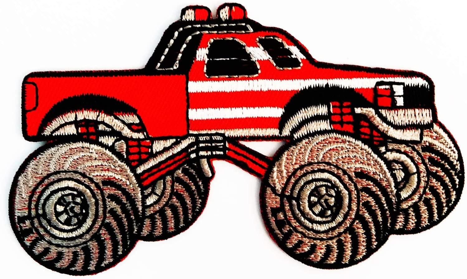 Amazon Com Monster Car Truck Red Patch Pickup Auto Racing Movie Cartoon 2 2x3 7 In Megadee Patch Badge Motogp Racing Vintage Classic Biker Racer Club Sew Iron On Logo Embroidered Car Cartoon 027 Arts