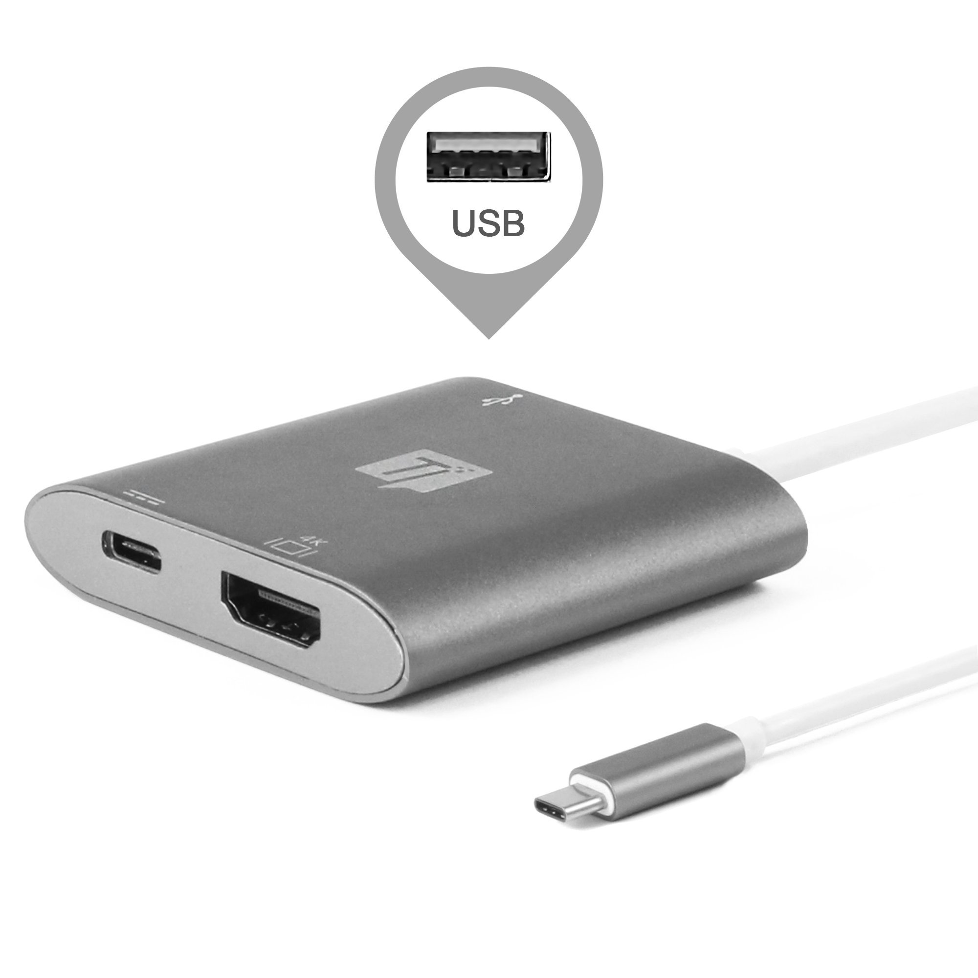Travel Inspira Type C Hub Adapter with USB-C to 4K HDMI Output/Power Delivery Charging Port/USB 3.0 Ports for New MacBook Pro Chromebook Samsung Galaxy Surface book and More Type C Devices