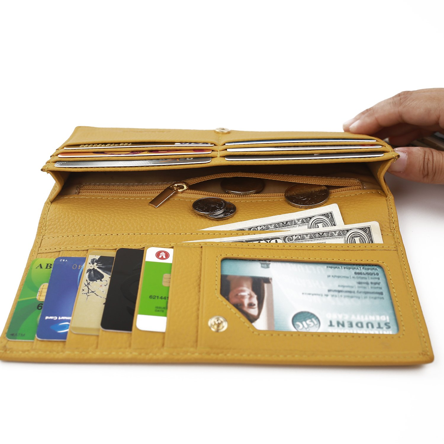 RFID Blocking Long Wallet for Women Leather Slim Bifold Safe Credit Card Protector Yellow