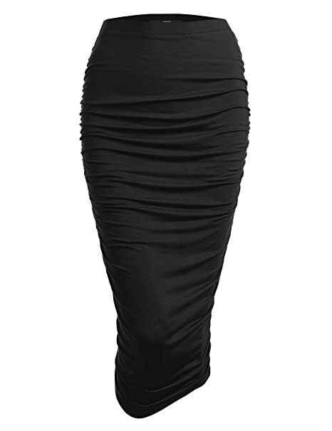 a5422d2790 Made By Johnny Women's High Waist Bodycon Slim Fit Ruched Frill Ruffle Midi  Long Pencil Skirt - Made in USA