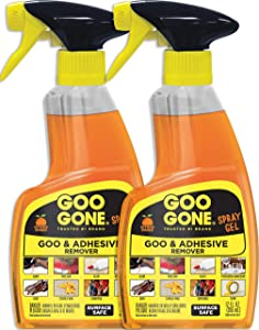 Goo Gone Adhesive Remover Spray Gel - 2 Pack - Removes Chewing Gum Grease Tar Stickers Labels Tape Residue Oil Blood Lipstick Mascara Shoe Polish Crayon etc