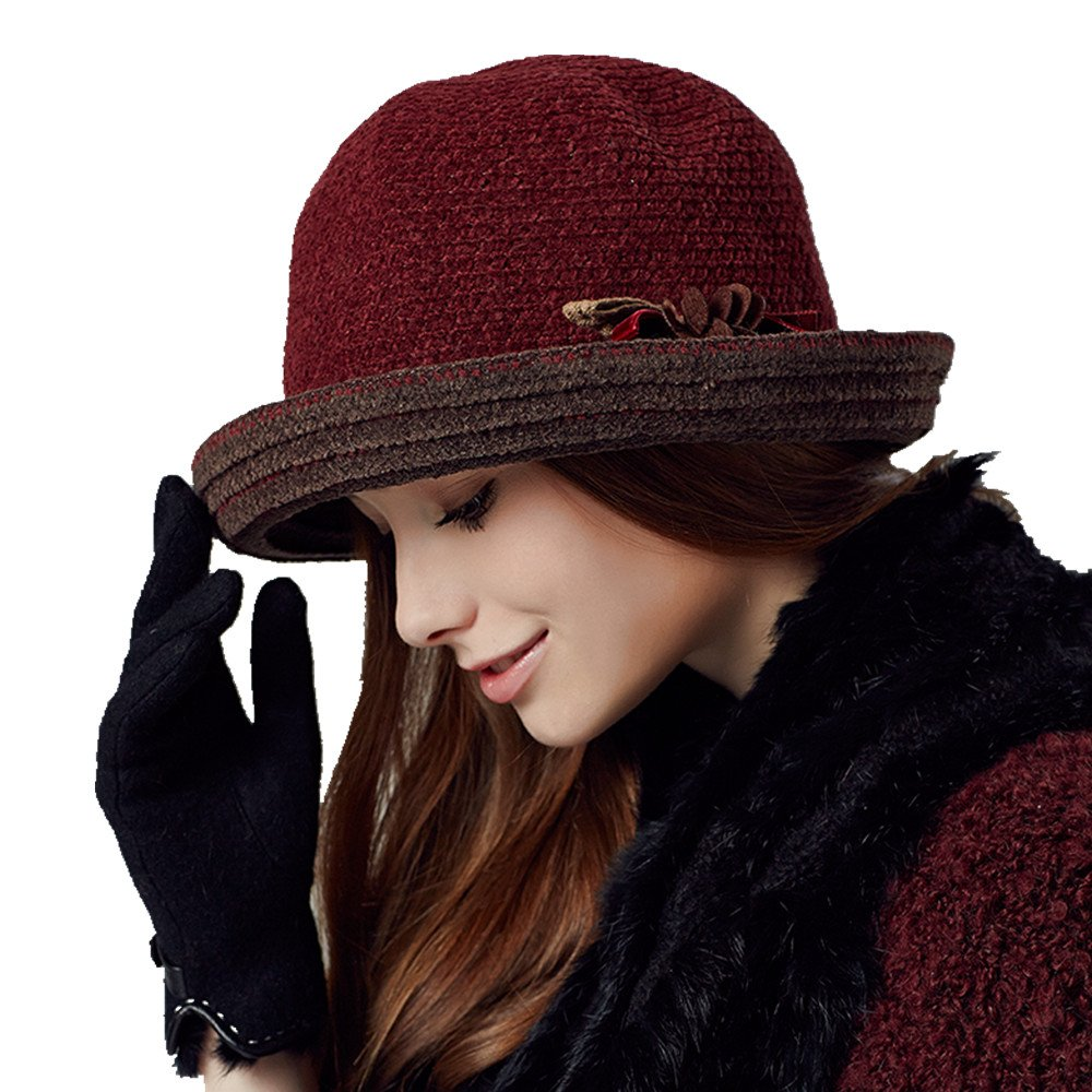 Kenmont Autumn Winter Women Lady Knit Wide Brim Cap Bucket Hat KM-2372