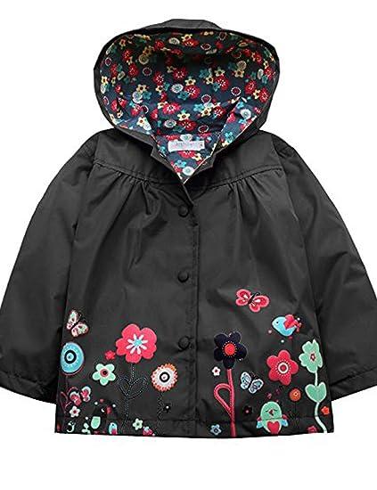 db25663ab Amazon.com: Girls Waterproof Windproof Hooded Coat Jacket Cute Floral  Raincoat Outwear (Size 90, Black): Clothing